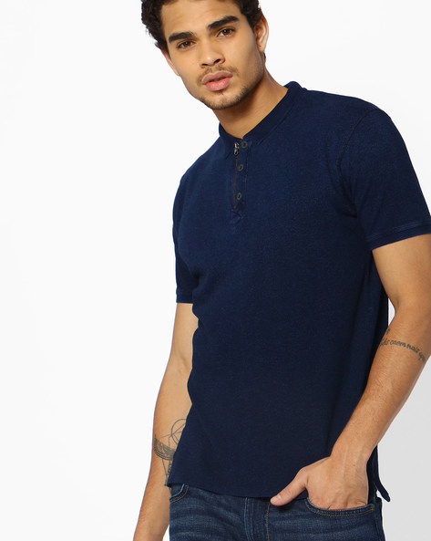 Polo T-shirt With Zipped Closure By DNMX ( Blue )