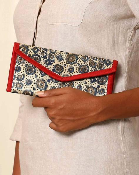 Handblock Print Mashru Silk 3-Fold Envelope Clutch By Indie Picks ( Multi ) - 460059247001