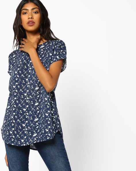 Floral Print Top With Curved Hemline By Fame Forever By Lifestyle ( Navy )