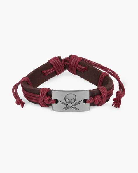 Bracelet With Skull Metal Accent By ALPHA MAN ( Maroon )