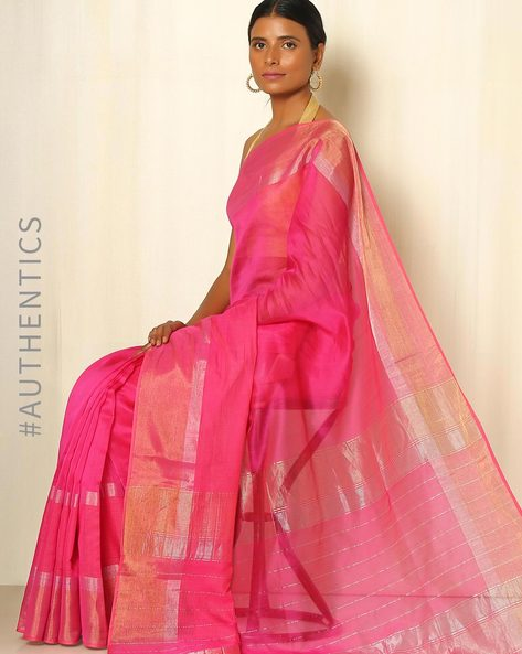 Handwoven Maheshwari Cotton Silk Saree By GoCoop ( Pink )