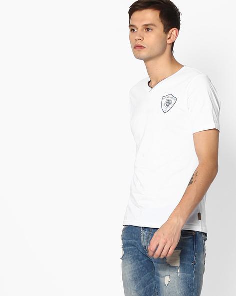 V-Neck T-shirt With Branding By FLYING MACHINE ( White )