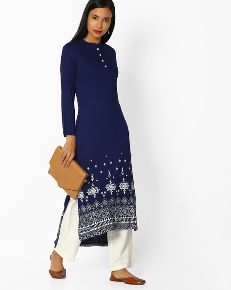 High-Low Kurta With Button Placket By AVAASA MIX N' MATCH ( Royalblue )