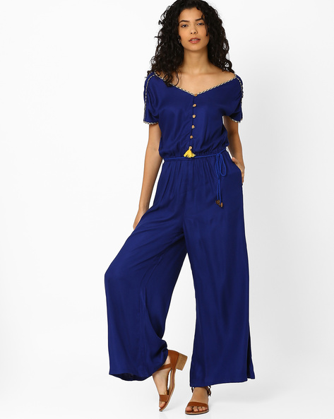 Kyra Jumpsuit With Elasticated Waist By Global Desi ( Blue )