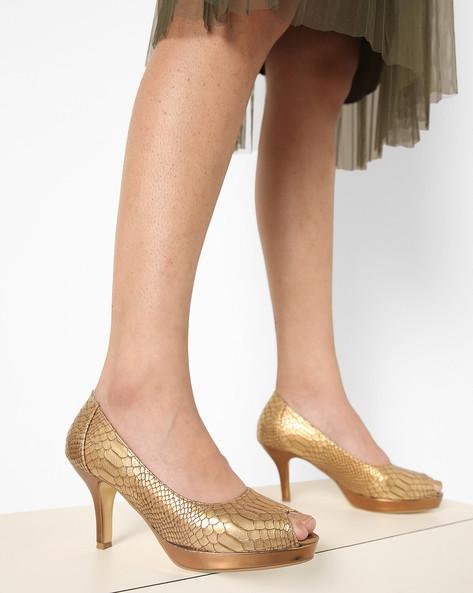 Textured Heeled Peep-Toe Shoes By AJIO ( Gold )