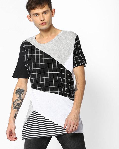 Cut & Sew Longline T-shirt By ADAMO LONDON ( Multi )