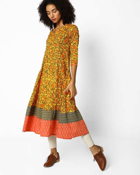 Floral Print Flared Kurta With Contrast Border By AJIO ( Mustard )