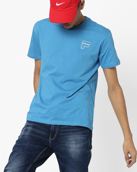 Crew-Neck T-shirt With Applique By FILA ( Blue )