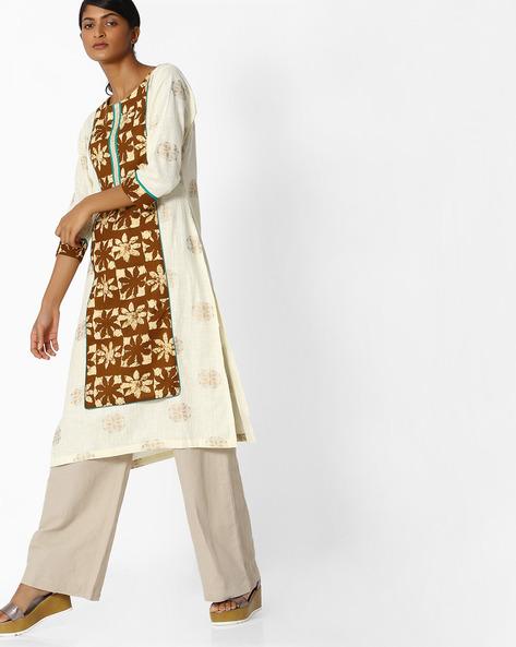 All-Over Print Khadi Kurta By SOCH ( Cream )