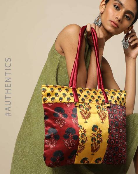 Ajrak Handblock Print Mashru Tote Bag By Indie Picks ( Multi ) - 460176182001