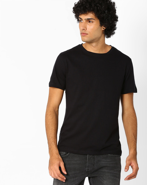Crew-Neck Slim Fit T-shirt By Blue Saint ( Black )