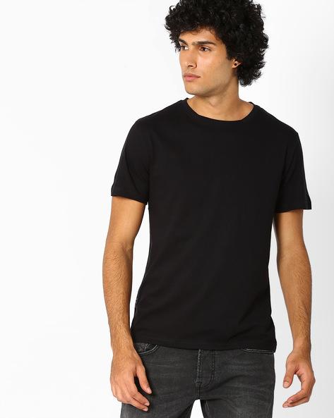 Crew-Neck Slim Fit T-shirt By Blue Saint ( Black )