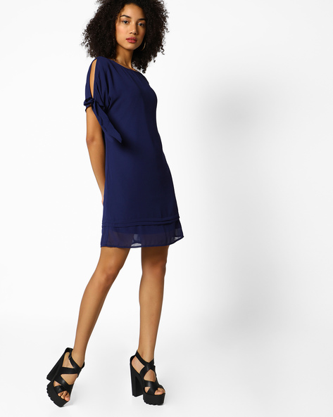 Shift Dress With Cold-Shoulder Sleeves By Femella ( Navyblue )