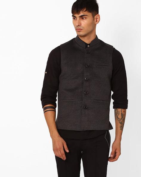 Regular Fit Nehru Jacket By DUKE ( Darkgrey ) - 460043319019
