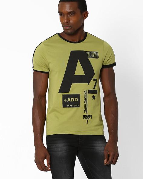 Printed Bio-Washed Crew T-shirt By AJIO ( Olive )