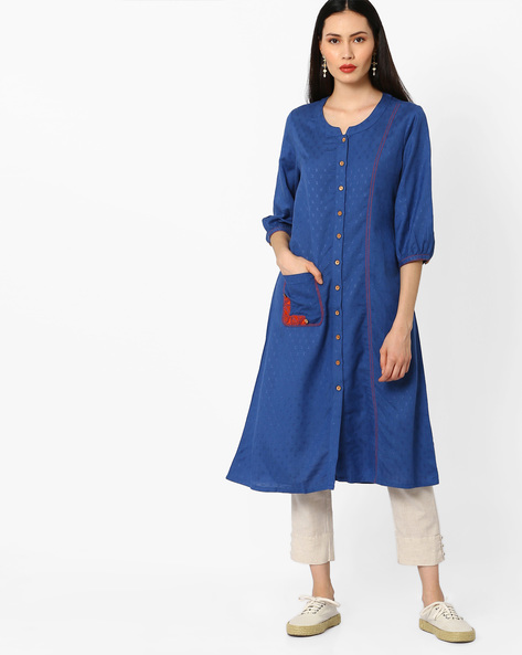 Kurta With Long Button Placket By Global Desi ( Blue )