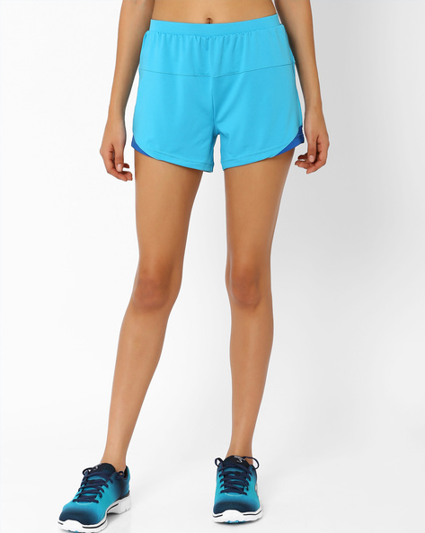 Shorts With Contrast Trim By AJIO ( Aqua )
