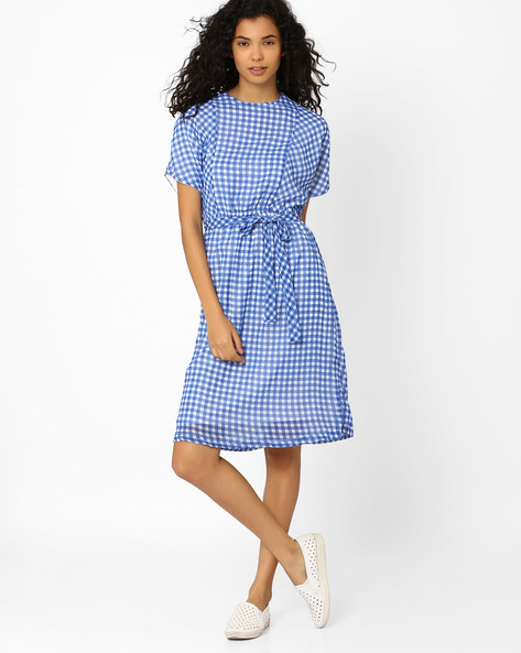 Checked Belted Dress By CHM ( Darkblue )