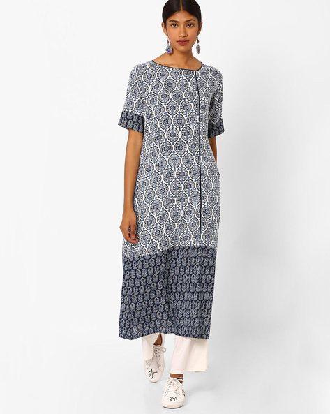 Printed Midi Dress By Jaipur Kurti ( Offwhite )