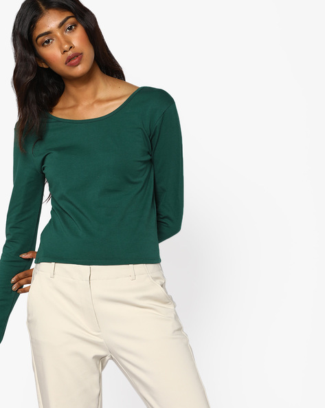 Knitted Top With Criss-Cross Back By AJIO ( Green )