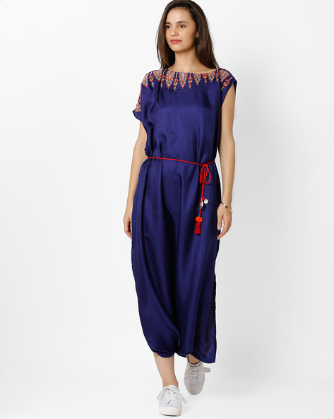 Jumpsuit With Tie-Up By Global Desi ( Blue )