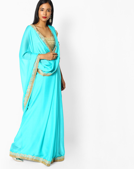 Chiffon Saree With Embroidery By Majestic Silk ( Blue )