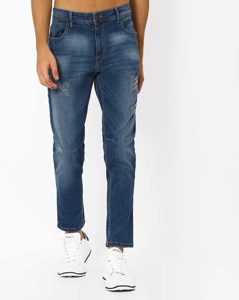 Lightly Washed Slim Fit Jeans By ADAMO LONDON ( Navyblue )