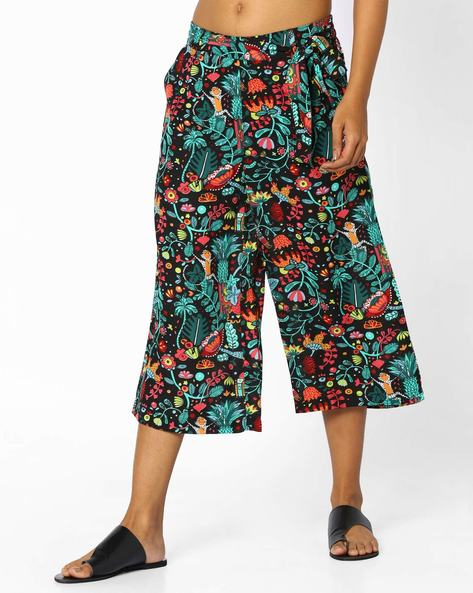 Printed Culottes With Tie-Up By AJIO ( Black )