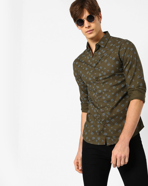 Printed Slim Fit Shirt By SPYKAR ( Olive )