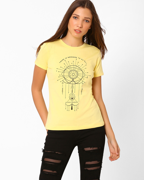 Graphic Print Crew-Neck T-shirt By AJIO ( Yellow )