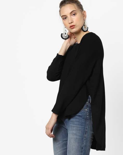 High-Low Pullover With Drop-Shoulder Sleeves By Vero Moda ( Greyblack )