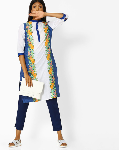 Floral Print Kurta With Mandarin Collar By Juniper ( Blue )