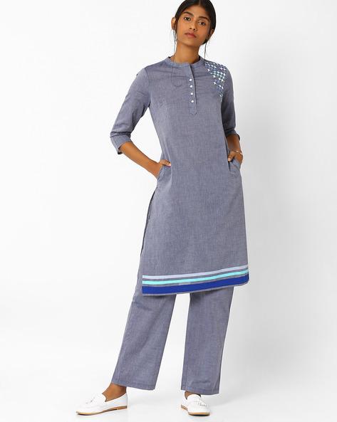 Straight Kurta With Mandarin Collar By AJIO ( Blue )