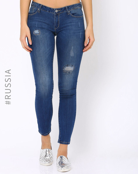 Lightly Washed Distressed Jeans By Kira Plastinina ( Lightblue )