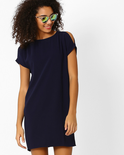 Shift Dress With Cold-Shoulders By AJIO ( Navyblue )