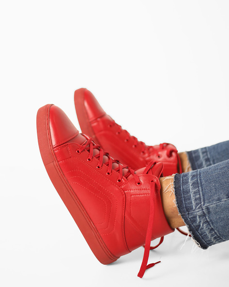 Panelled High-Top Lace-Up Sneakers By AJIO ( Red )