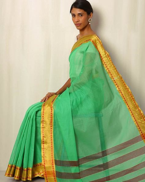 Mercerized Cotton Saree With Zari Border By Indie Picks ( Lightgreen )