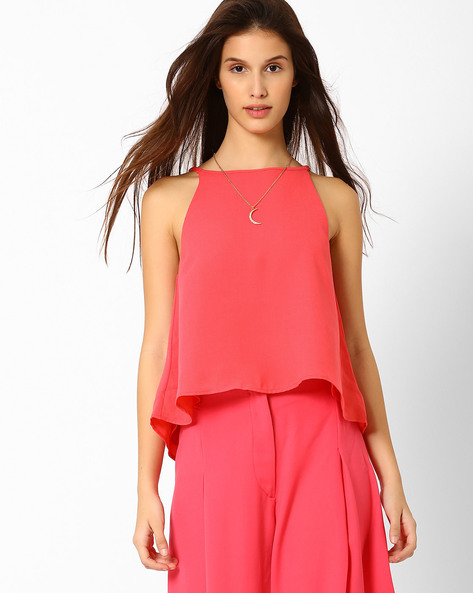 Swing Top With Cutaway Shoulders By AJIO ( Pink )