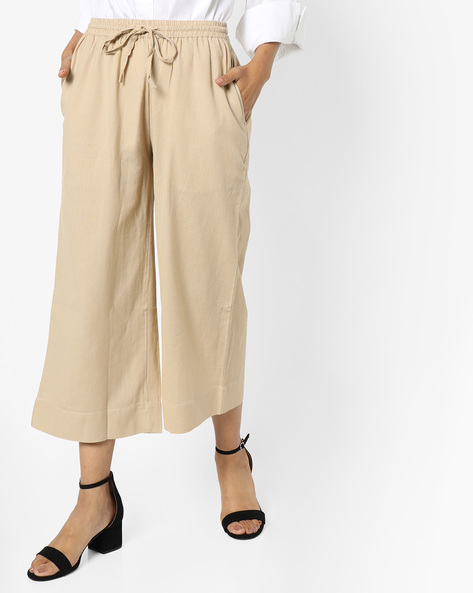Culottes With Drawstring Waist By Project Eve IW Casual ( Beige )