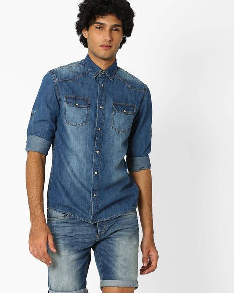 Denim Shirt With Flap Pockets By Celio ( Lightblue )