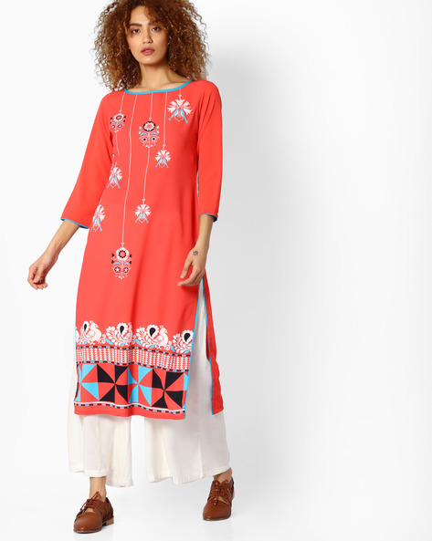 Printed Straight Kurta By Indian Ink ( Coral )
