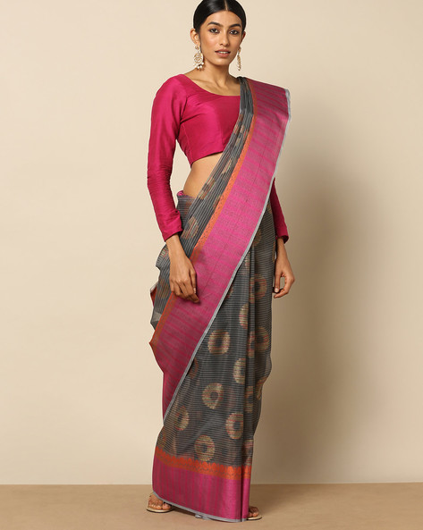 Banarasi Cotton Resham Butidar Saree By Banarasi Style ( Black )