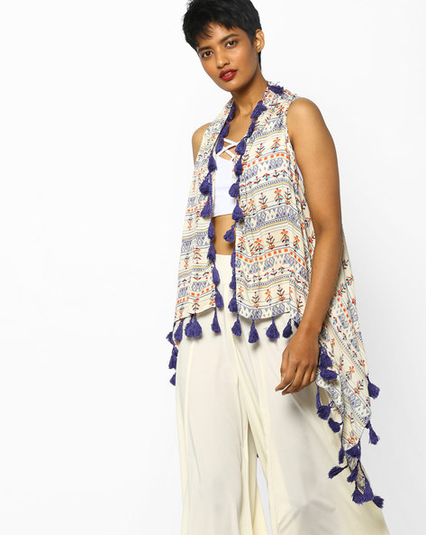 Printed Shrug With Tassels By PE IW Fusion ( Yellow )