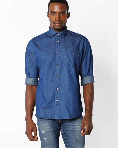 Slim Fit Shirt With Patch Pocket By VIMAL APPARELS ( Blue ) - 438042767003