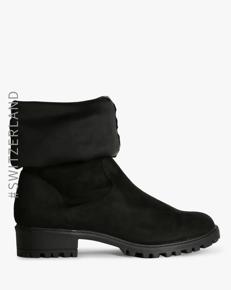 Panelled Boots With Textured Collar By TALLY WEiJL ( Black ) - 460153538001