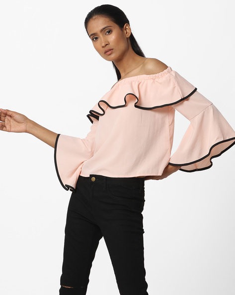 Off-Shoulder Ruffled Top By Ginger By Lifestyle ( Pink )
