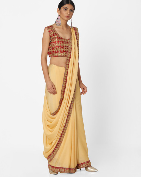 Embroidered Chiffon Saree By Majestic Silk ( Brown )