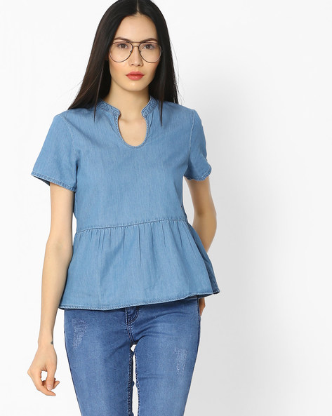 Peplum Top With Short Sleeves By Vero Moda ( Blue )