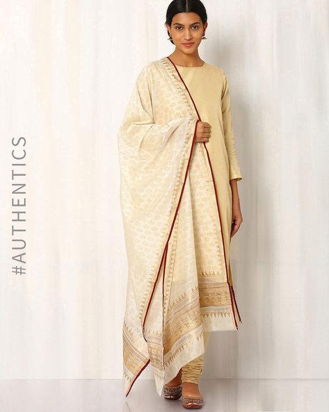 Hand Block Print Maheshwari Dupatta By Indie Picks ( Offwhite ) - 460017098001
