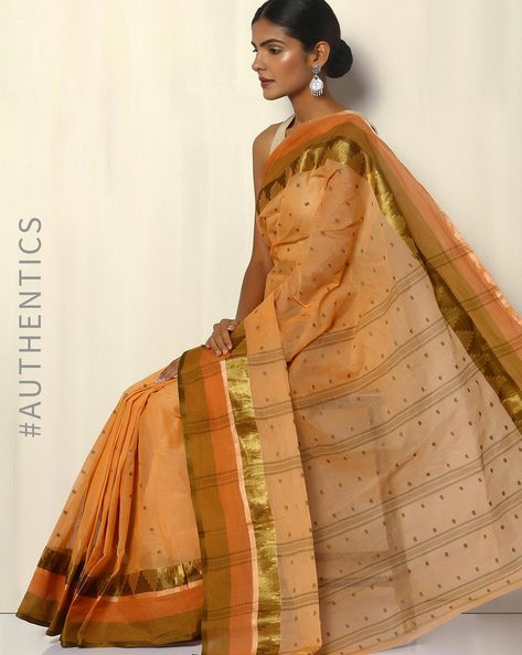 Bengal Handloom Tant Tangail Buti Cotton Saree By Indie Picks ( Cream ) - 460093848001